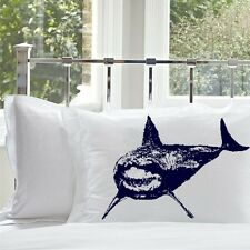 Set of Two Navy Blue Great White Shark nautical pillowcases