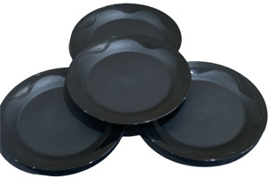 """Tupperware NEW SET 4 Open House Collection 8"""" Lunch Dessert Plates BLACK"""