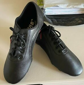 Women's Size 9/EU 40 Breathable Black Lace Up Ballroom Dance Shoes Brand New
