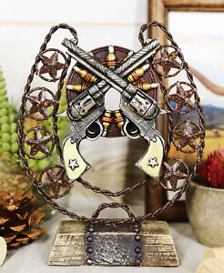 Ebros Cast Iron Cowboy Horseshoe Western Stars Dual Revolver Pistols Bullets