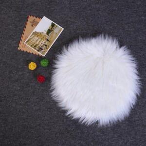 30cm Mini Round Sheepskin Plain Fluffy Skin Washable Soft Faux Fur Fake Rug Mat