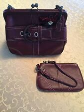 Coach Burgandy Leather Small Handbag and Wristlet Style No. 8A12