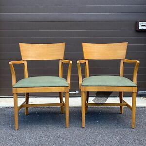 Pair 1940s RWAY Dining Arm Chairs Eliel Saarinen Art Deco MCM Armchair