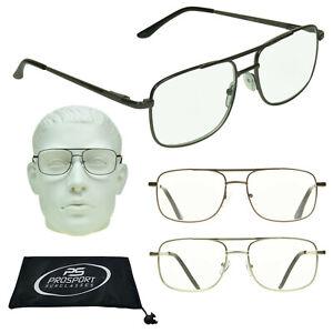Multifocal Progressive Square Metal Computer Reading Glasses Readers 3 Zones