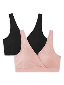 2 Pack Secret Treasures Women's Maternity Wrap Front Sleep Bra Size XL