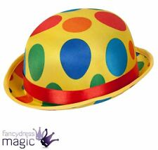 *Clown Bowler Hat Spots Spotted Polka Dot Circus Tumble Fancy Dress Accessory*