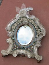 Miroir venitien avec micromosaique en pierres dures decor de fleurs