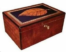 Prairie 150 ~ High Lacquer Rosewood Finish wTobacco Leaf Inlay Lid Cigar Humidor