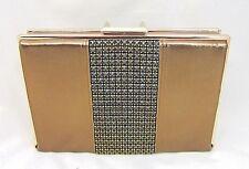 Bronze Metallic Crystal & Leather Clutch Evening Bag