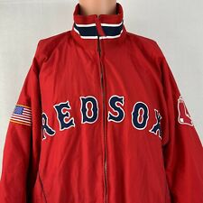 Majestic Boston Red Sox Dugout Jacket MLB Authentic Baseball USA Flag Sewn XL