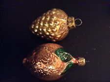 2 Vintage Fruit Christmas Glass Ornament