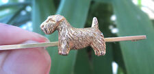 9ct Yellow Gold Dog Brooch / Pin - Scottish Terrier / Scottie / Sealyham c1920