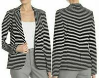NWT Philosophy Apparel Womens White/Black Stripe Blazer Jacket  Size S