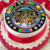 STAR WARS PERSONALISED BIRTHDAY 7.5 INCH PRECUT EDIBLE CAKE TOPPER A400K