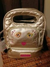 Betsey Johnson Kitsch Face Gold Metallic 2 Section Insulated Lunch Tote