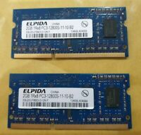 4GB ELPIDA (2x 2gb) RAM MEMORY DDR3L-PC3- 1Rx8 10600S 12800S for LAPTOP (pair)