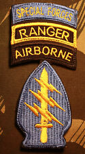 New listing Special Forces Airborne Ranger tabs shoulder patch parachute in-country made