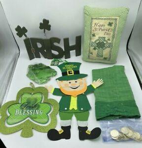 """St. Patrick's Day Decor LOT """"Irish"""" Wood Sign, Wall Hanging, Pillow, Tea Towel"""