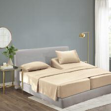 Luxury Bamboo Sheet Set Soft Hypoallergenic Beige Queen Deep Pocket 4 Pc Set