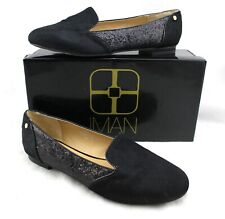 IMAN Black Calf Hair Glitter Leather Flats Loafers 8.5W Wide