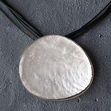 Neu 90cm+5cm KORDELKETTE mit CAPIZ MUSCHEL in weiß HALSKETTE schwarz KETTE