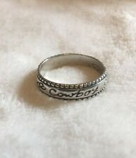 """Estate Sale STERLING SILVER Rope Edge Band Ring """"Cowboy"""" Size 8 3/4"""
