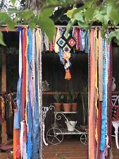 "Shabby Handmade Gypsy Boho Hippie Valance Rag Curtain Window,Wall,Door, 60"" W"