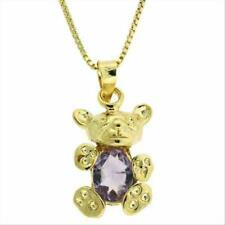 "18K Gold 925 Silver 1.05ct Amethyst Teddy Bear Necklace, 18"""