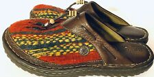Born Southwestern Indian Wood Blanket Leather Clog Slip On Mules Sz 10/42