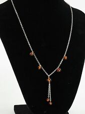 Sterling silver amber lariat necklace chain 925 signed V8 Valerio 888