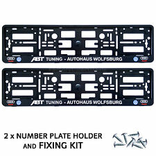 Pair Black ABT TUNING AUTOHAUS AUDI  Number Plate Surrounds Holder Frame+Fixing