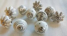 10 rare White mix design Ceramic Door Knobs Drawer Puller Cupboard Handle knob