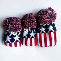 3pcs Red Golf Pom Pom Wood Head Cover Knit Cover For Driver Fairway 3 5 Wood