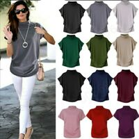 Women Summer Turtleneck Short Sleeve Solid Blouse Casual Top T Shirt Pullover AU