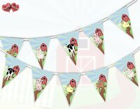 Farmyard Theme Bunting Banner 15 flags Single Animals mix by Party Decor