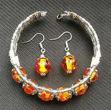 Ladies Bangle Tibetan Silver Bangle Amber Woman Bracelet Earrings Set