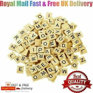 100 WOODEN SCRABBLE TILES BLACK LETTERS & NUMBERS FOR CRAFTS ART WOOD *FULL SET*