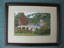 Beautiful framed & finished cross stitch design of bridge and lake