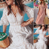 Summer Women Sexy V-Neck Button Down Maxi Dress Ladies Short Sleeve Long Dresses