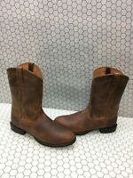 Ariat ATS HERITAGE ROPER Brown Leather Round Toe Pull On Boots Men's Size 8.5 C