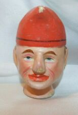 """Antique 1800's Wooden Punch Puppet Head ~ 4 1/4""""tall paint loss to nose/ hat tip"""