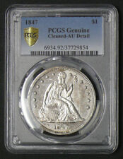 1847 SEATED DOLLAR PCGS AU DETAILS * TONING AROUND RIMS *