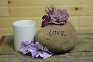 """""""Love."""" Engrave Pink Stone Planter, 2 inch Pocket, All Natural"""