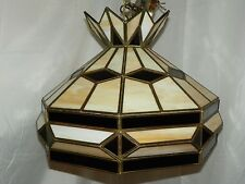 3D TIFFANY STYLE SLAG LEADED GLASS SHADE HANGING LAMP WITH CHAIN- AMBER/FROSTED