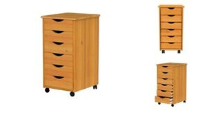 Storage 6 Drawer Chest Wooden Rolling Office Organizer Portable Filing Cabinet