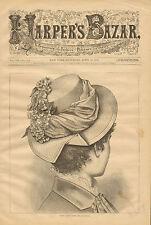Victorian, Ladies Fashions, Young Ladies Hat, Vintage, 1879 Antique, Art, Print,