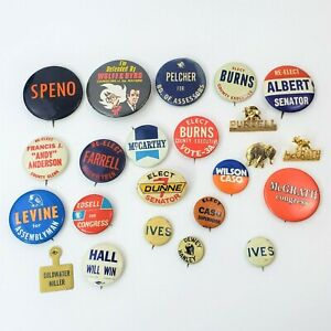 Vintage Political Campaign Pin Back Buttons Mixed Lot of 23 McCarthy Goldwater