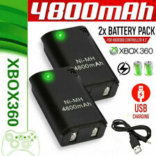 2pc 4800mAh Battery Pack +Charger Cable Xbox 360 Wireless Controller Rechargable