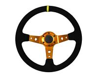 Rally Drift Style Steering Wheel Black Suede with Gold Centre Spars 70mm PCD 13""