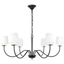 """6 Light 37"""" White Shades Black Foyer Kitchen Dining Living Room Chandelier"""